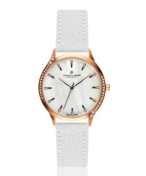 mother-of-pearl & white leather watch