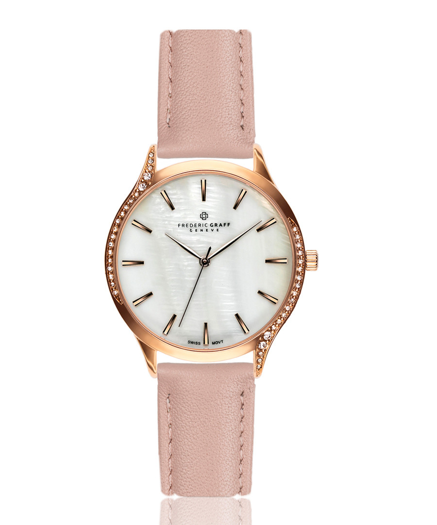 mother-of-pearl & pink leather watch Sale - frederic graff