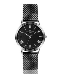 black steel mesh watch