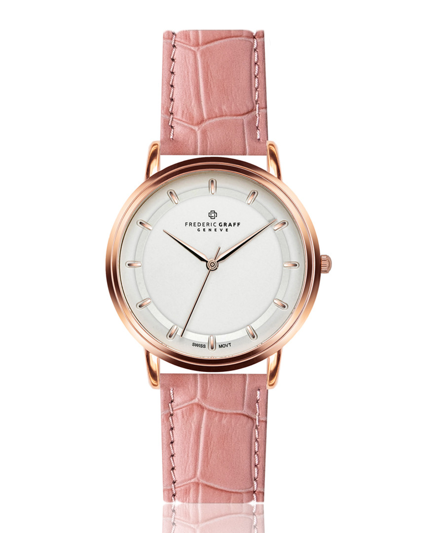 rose gold-tone & pink leather watch Sale - frederic graff
