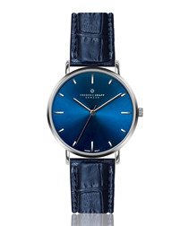 silver-tone & blue leather watch