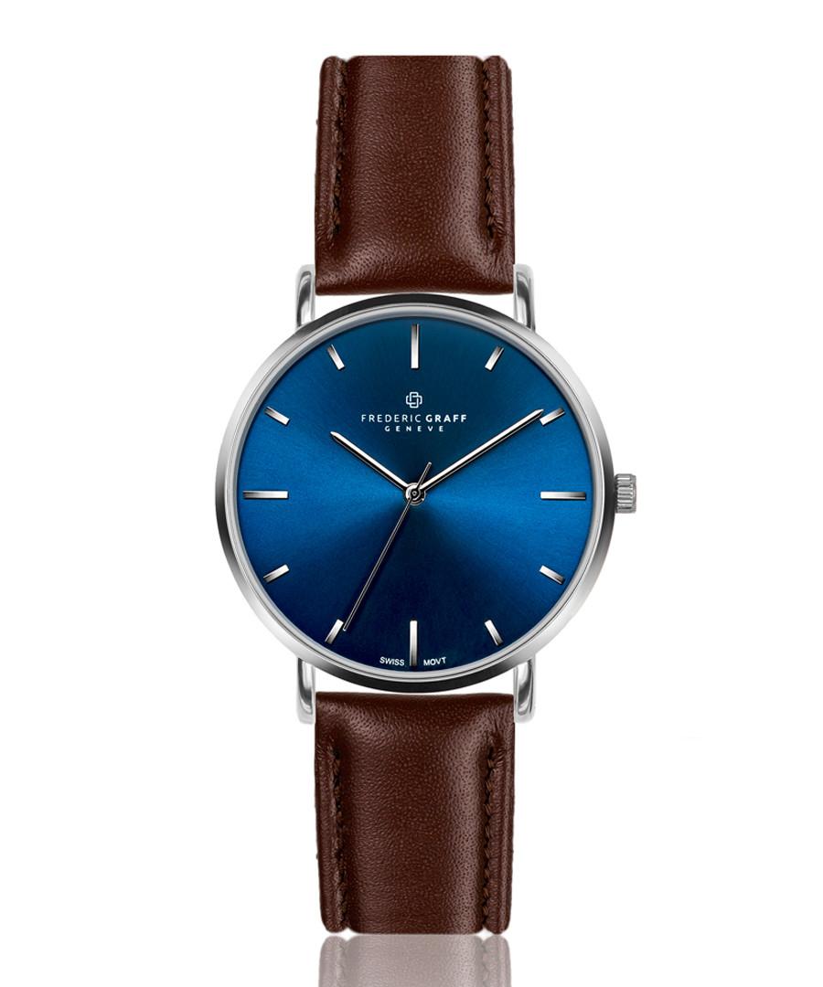 silver-tone & walnut leather watch Sale - frederic graff