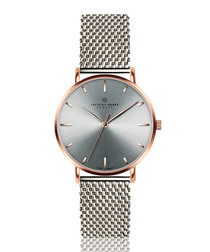 stainless steel mesh & grey watch