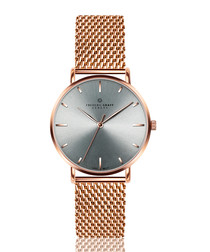 rose gold-tone steel & grey watch