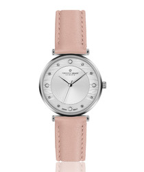 silver-tone & pink leather watch