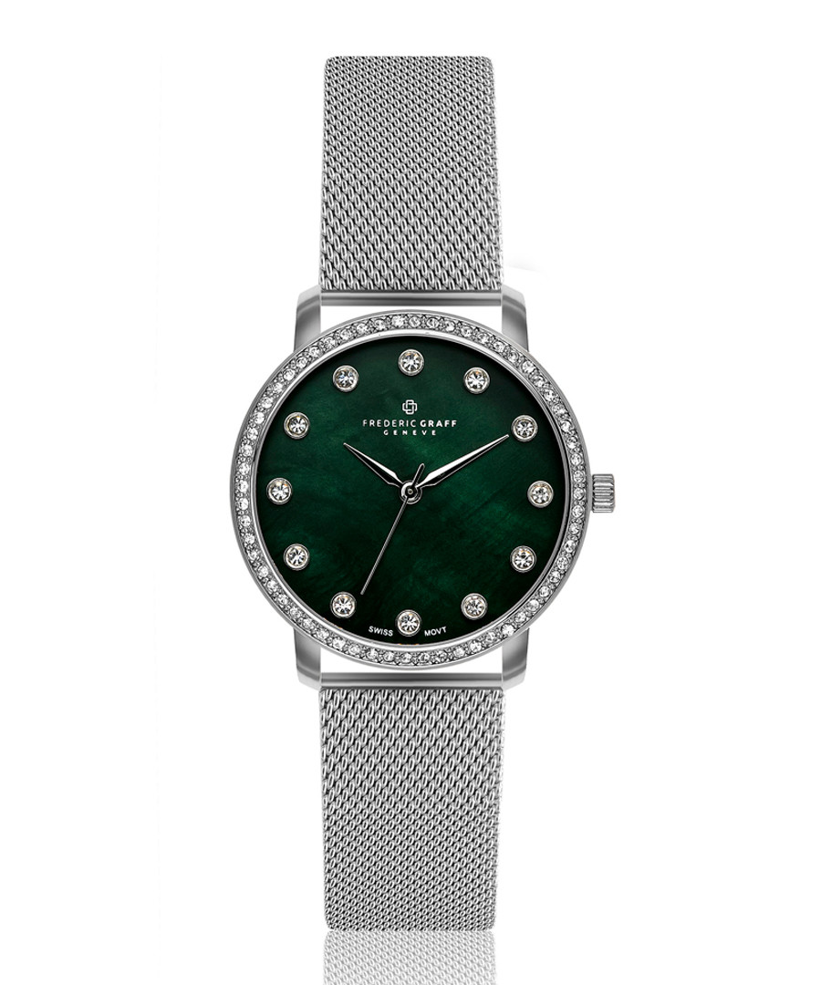 steel & teal mother-of-pearl watch Sale - frederic graff