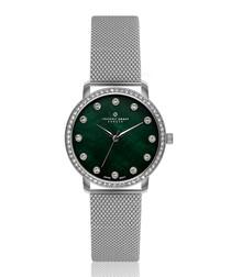 steel & teal mother-of-pearl watch