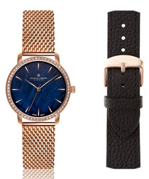 2pc rose blue mother-of-pearl watch set