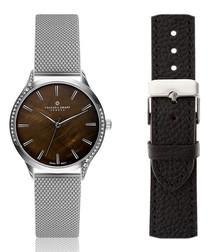 steel & brown mother-of-pearl watch