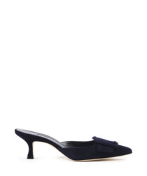 Maysale navy suede heeled mules
