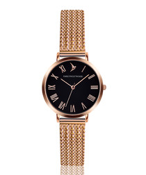 Rose gold-tone mesh numeral watch