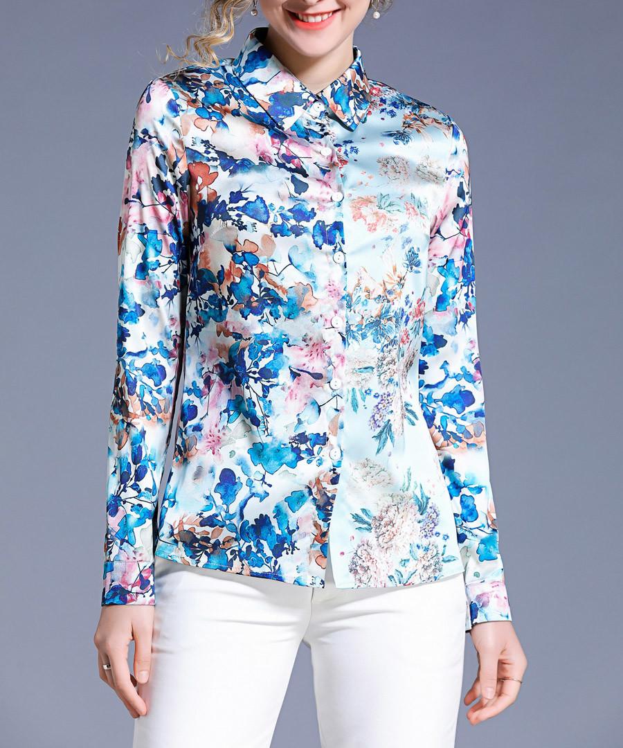 blue floral collared blouse Sale - Kaimilan