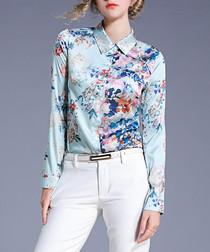 pale blue floral button blouse