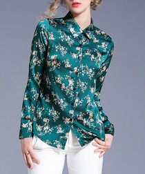 green floral collared blouse