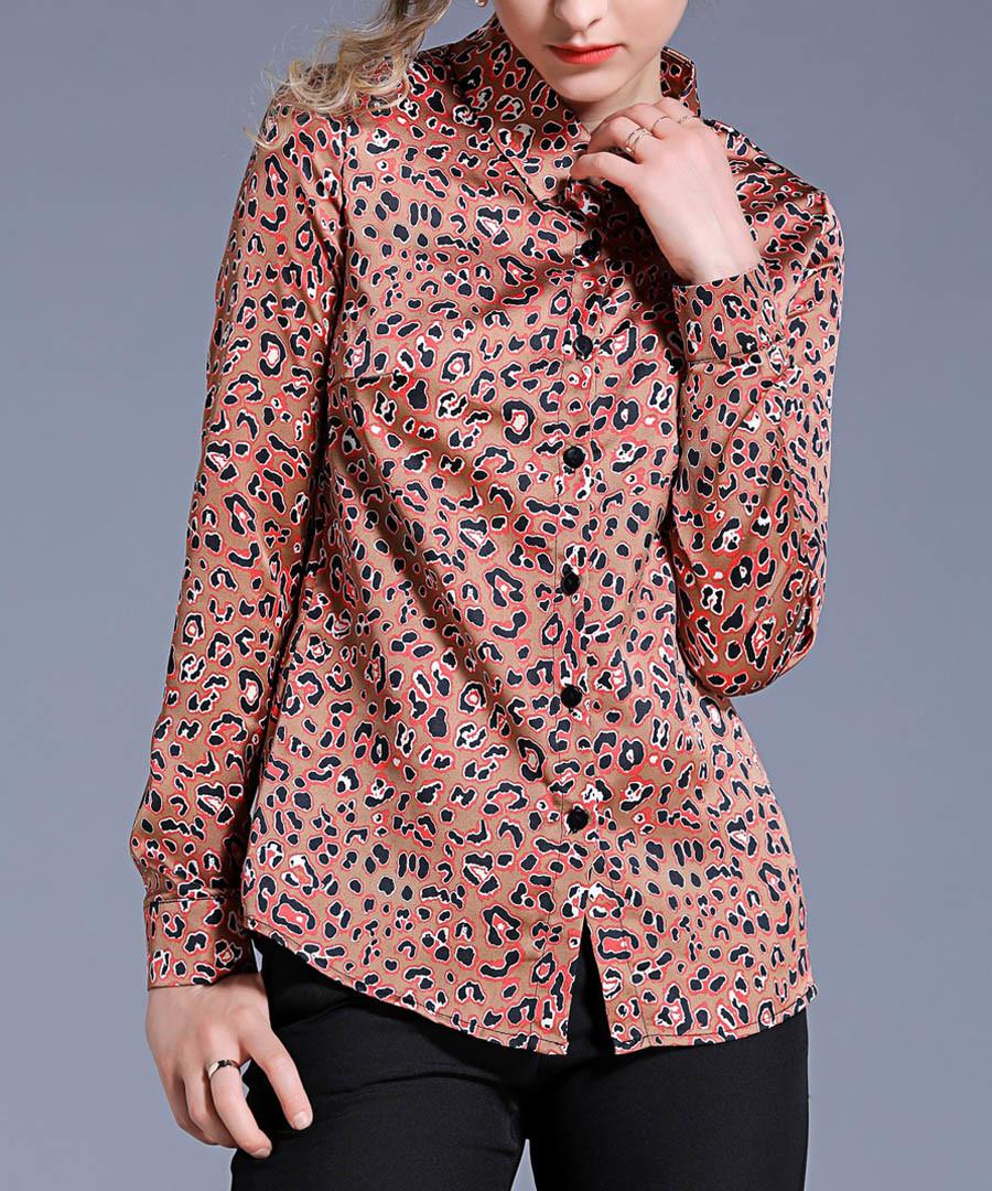 caramel leopard print blouse Sale - Kaimilan