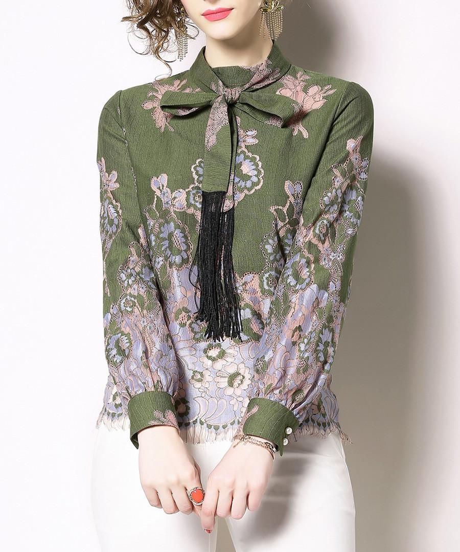 olive & lilac pussybow shirt Sale - Kaimilan