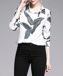 white buttoned leaf blouse