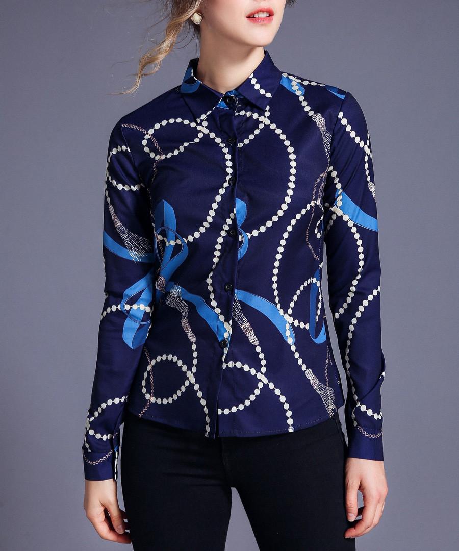 navy & blue chain button blouse Sale - Kaimilan