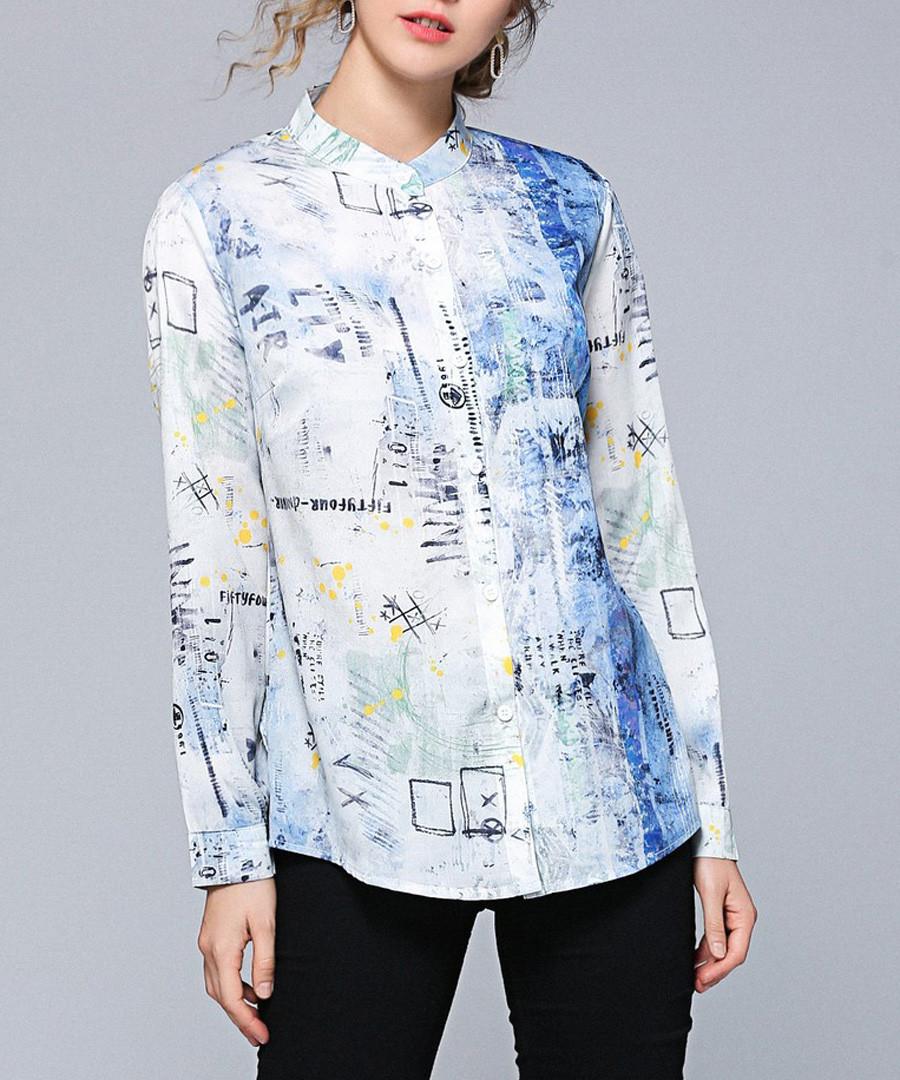 white & blue fade button blouse Sale - Kaimilan