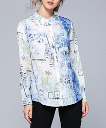 white & blue fade button blouse