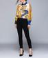 ochre & blue brocade duck blouse Sale - Kaimilan Sale