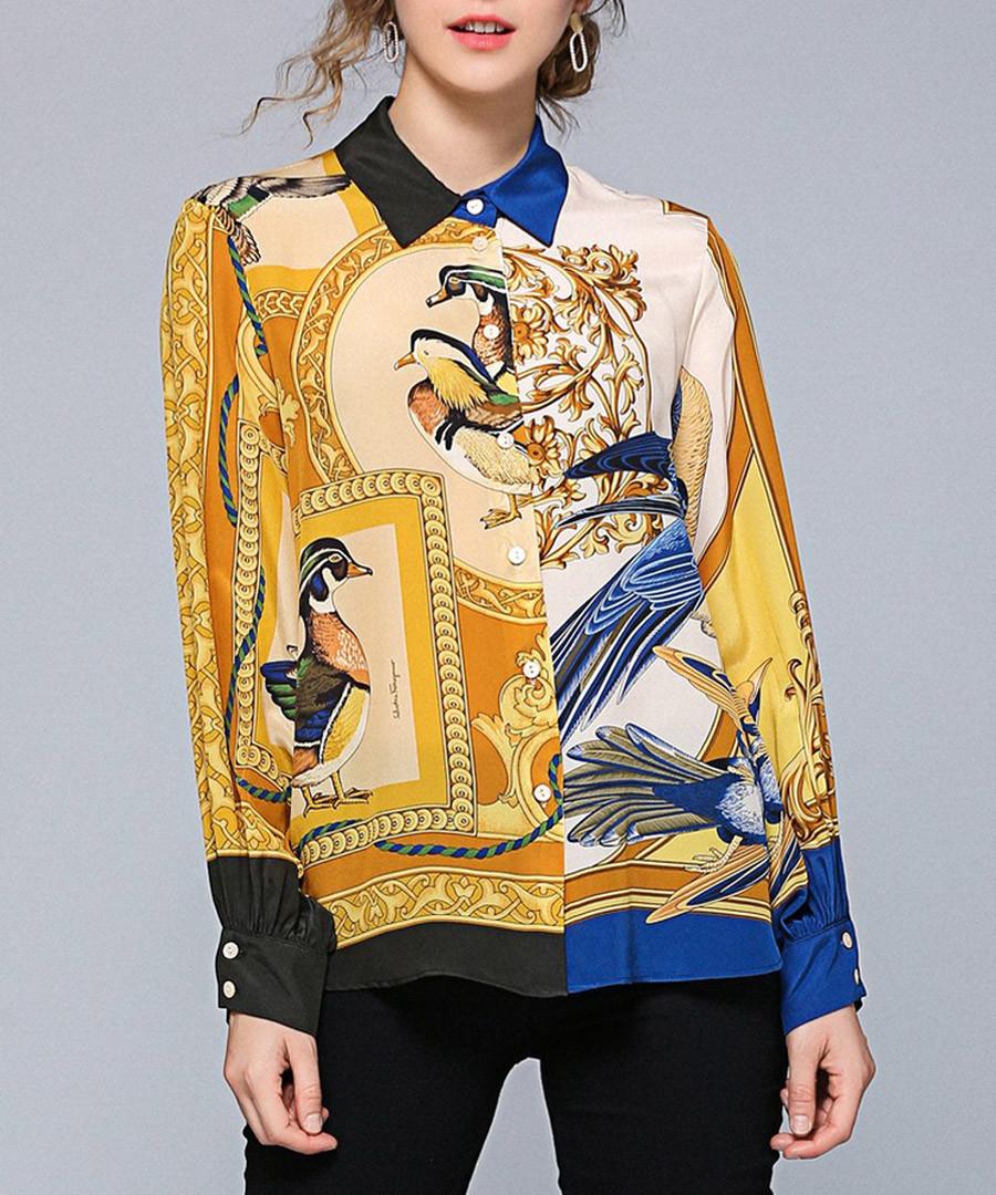 ochre & blue brocade duck blouse Sale - Kaimilan