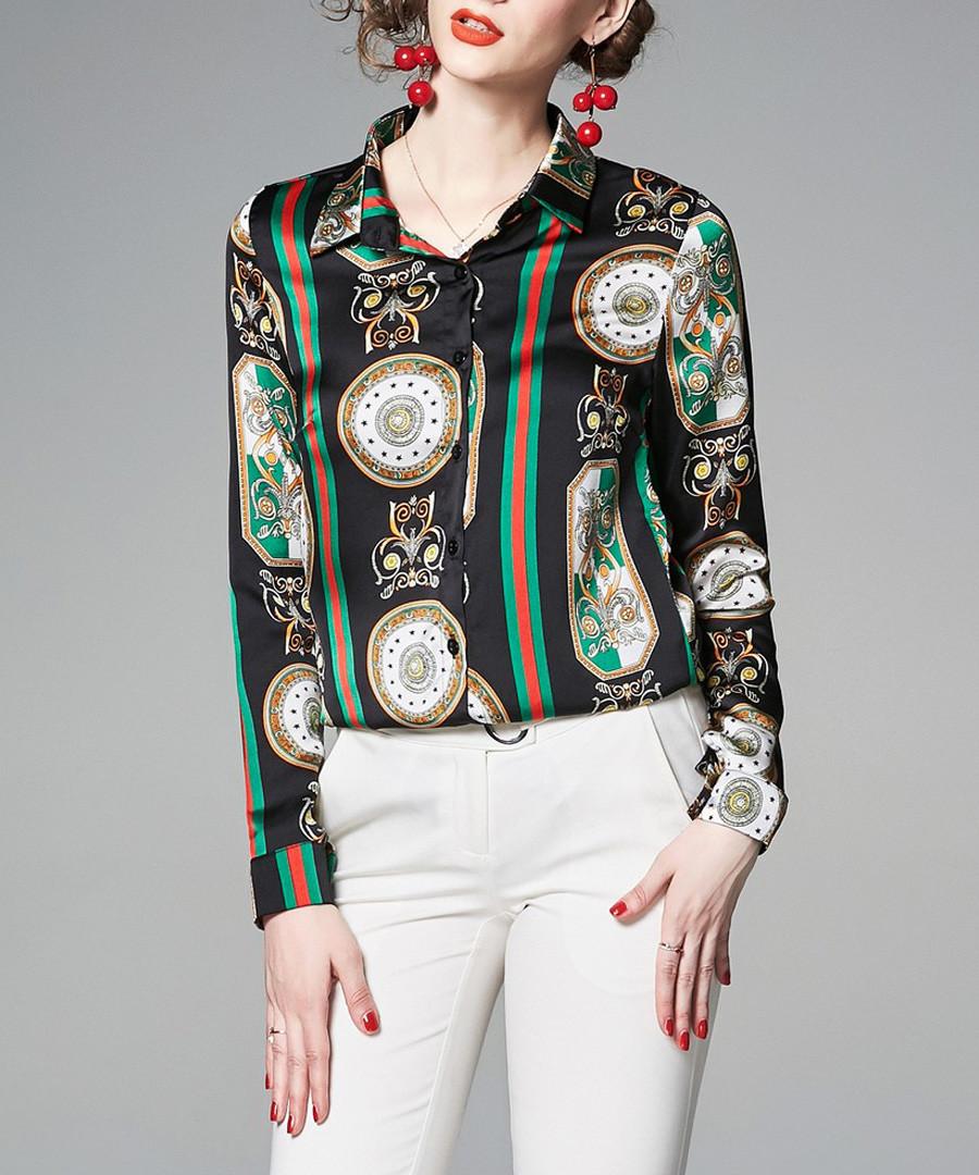 green & red brocade stripe blouse Sale - Kaimilan