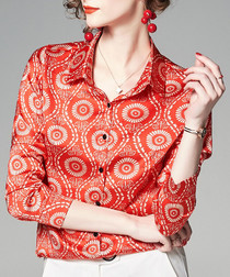 red wheel button blouse