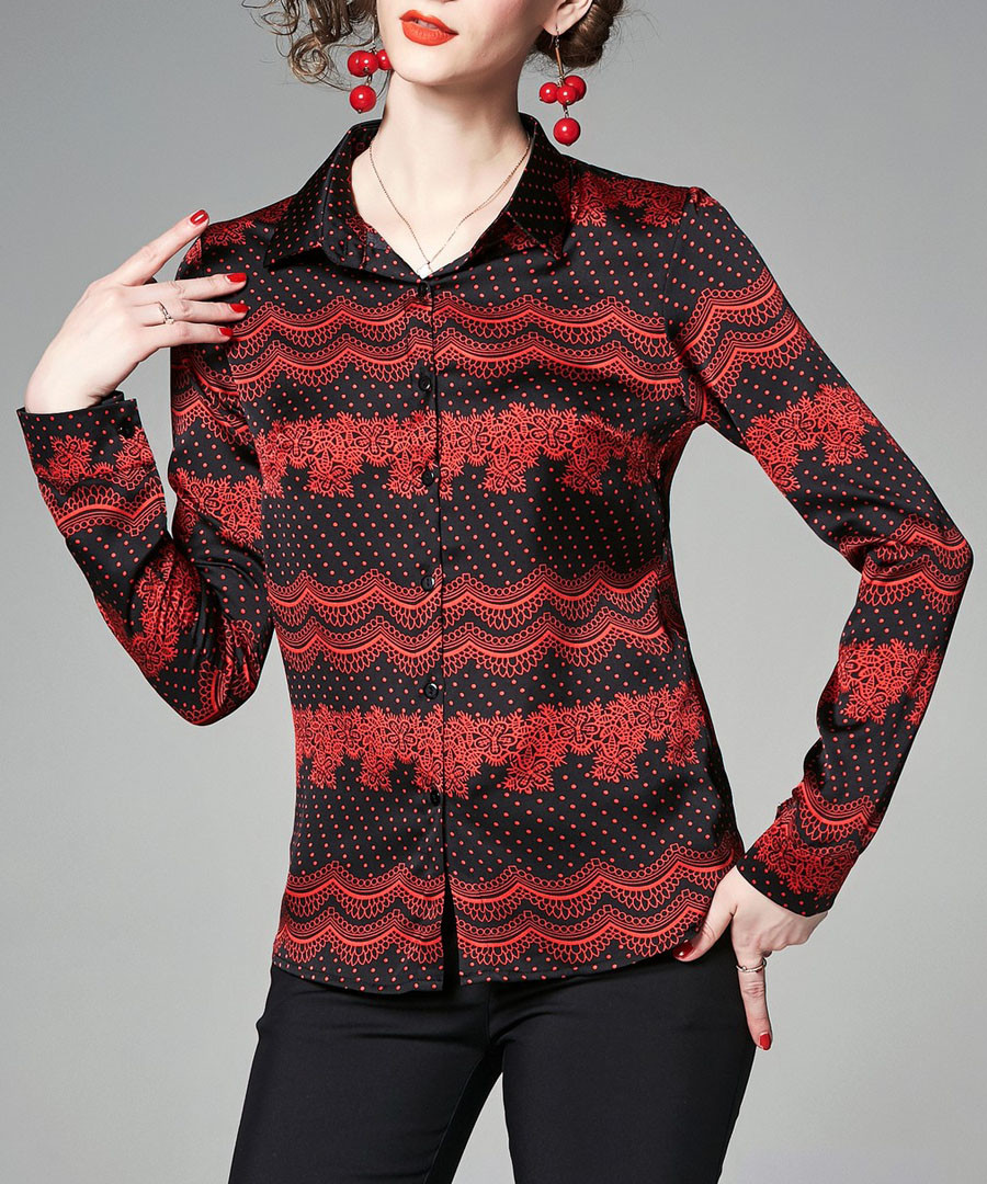black & red skirting print shirt Sale - Kaimilan