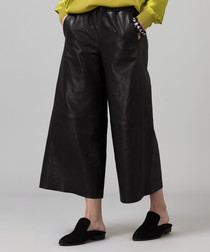 Black leather wide-leg cropped trousers