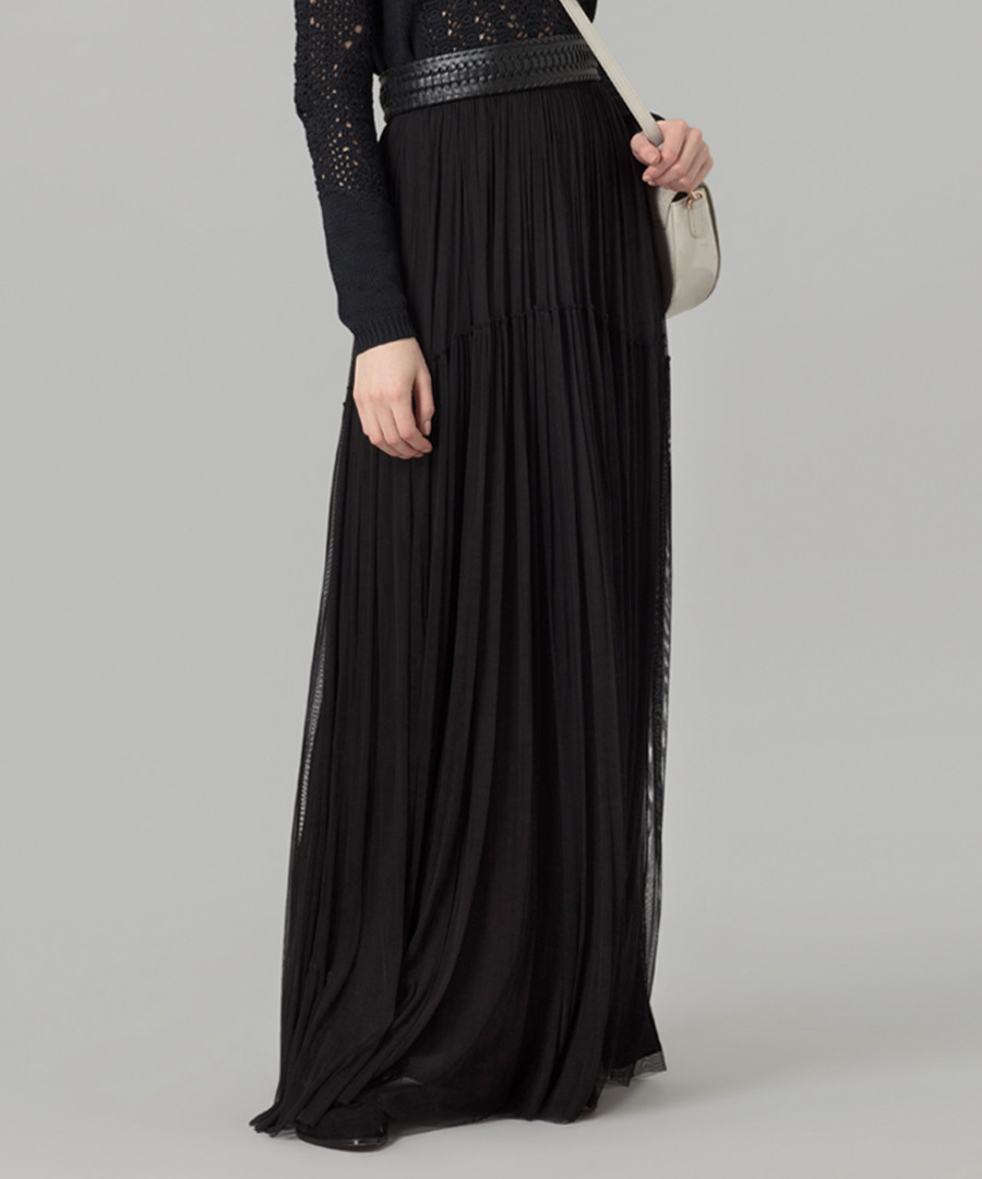 Black pure silk tulle maxi skirt Sale - Amanda Wakeley