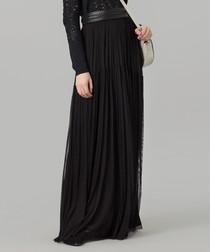 Black pure silk tulle maxi skirt