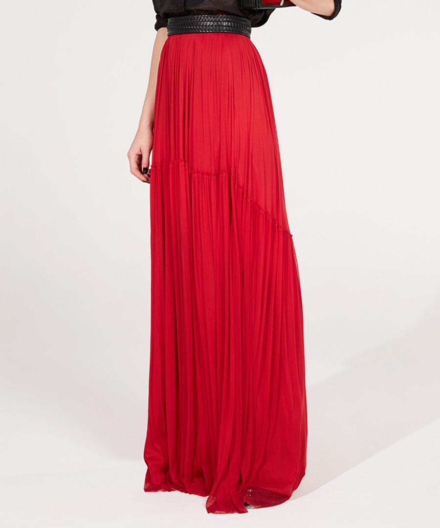 Red pure silk tulle maxi skirt Sale - Amanda Wakeley