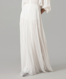 White pure silk tulle maxi skirt