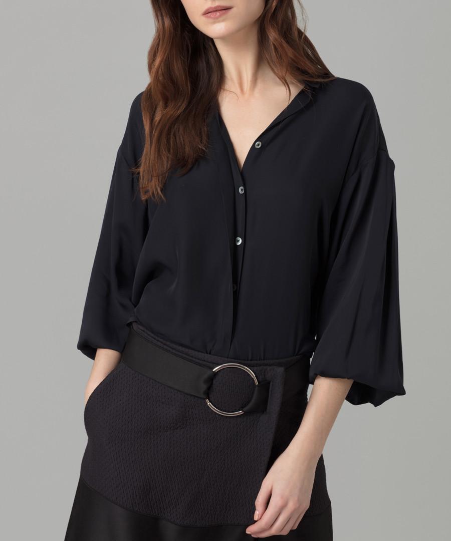 Midnight pure silk georgette blouse Sale - amanda wakeley
