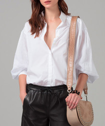 White pure linen blouse