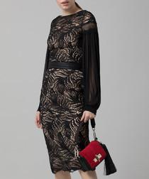 Black paisley lace midi dress