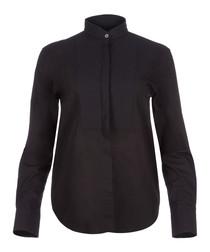 Black pure cotton tuxedo shirt