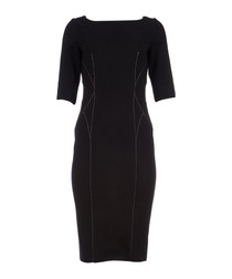 Black virgin wool blend dress