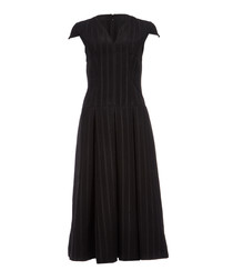 Black ladder embroidered midi dress