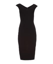 Black tailored crepe midi dress