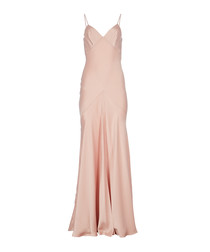 Blush satin strappy maxi dress
