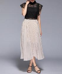 beige & black high neck midi dress