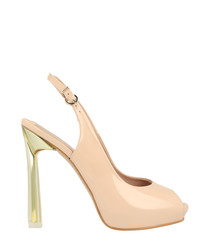 Beige leather stiletto heels