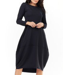navy long sleeve volant dress