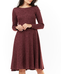 burgundy long sleeve pleat dress