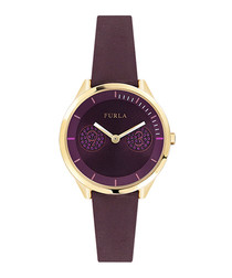 Gold-tone & fig suede watch