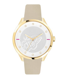 Gold-tone steel & beige leather watch
