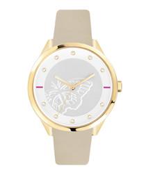 Gold-tone steel & beige leather watch