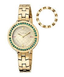 gold-tone steel bezel-swap watch